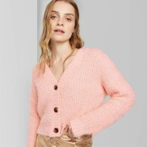 Wild Fable Women's Cropped Button Front Fuzzy Card